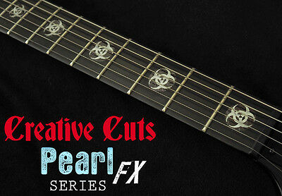 Biohazard Logo MOP & BLACK PEARL Fret Markers Inlay Decals for BASS and GUITAR