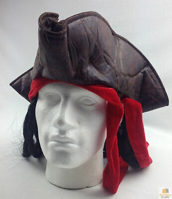 Deluxe PIRATE HAT Costume Accessory Tricorn Cap With Hair Halloween Fancy Dress