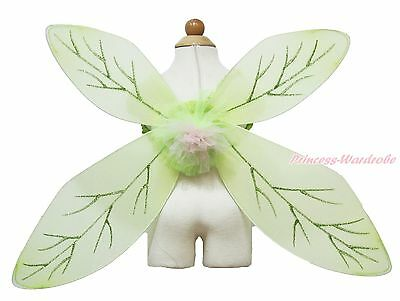 Lime Green Flower Fairy Princess Leave Wings Kids Halloween Party Costume