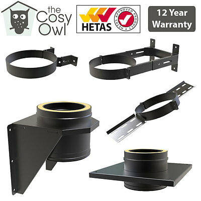 Convesa Black Twin Wall Insulated Flue Pipe For Wood Burners Brackets & Supports