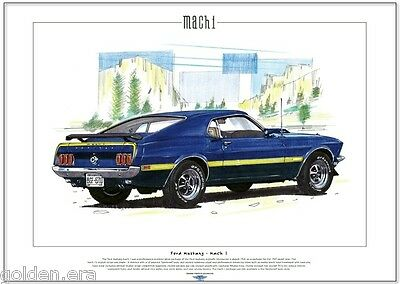 FORD MUSTANG MACH 1 - Fine Art Print - A3 size - V8  Sportsroof  Pony Muscle Car