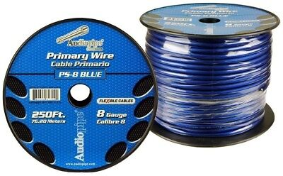 8 GA BLUE FLEXIBLE POWER WIRE PRIMARY GROUND 250FT COPPER MIX CABLE CAR