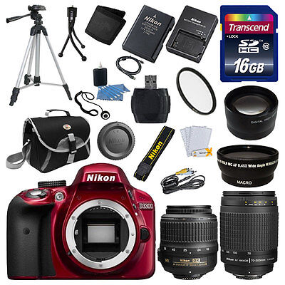 Nikon D3300 Digital SLR Camera Body Red +4 Lens 18-55 VR II, 70-300mm + 16GB NEW