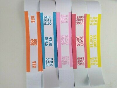 150 Assorted Currency Straps/ Bands - 30 each  ($50, $100, $250, $500, $1000)