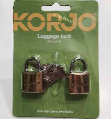 Korjo Quality Security Brass Lock For Luggage, Suitcase, Locker Etc -- Duopack