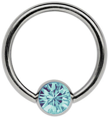 Breast Titanium Piercing Jewellery Ring Bcr 1,6mm with 6mm Zirconia Ball Size