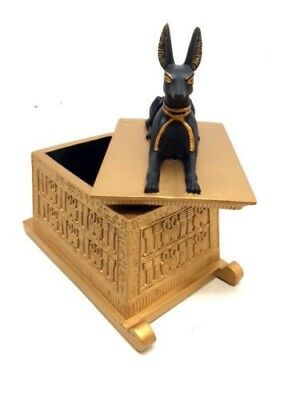 Egyptian Old Kingdom Religion God Anubis Dog Keepsake Jewelry Box Decor Statue