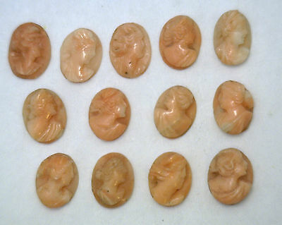 NOS New Antique Vintage Oval Small CORAL Cameo Stone 10 mm x 8 mm D