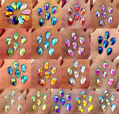 DIY 25-200pcs 18*11mm Flatback AB Acrylic Drip Sewing Rhinestone Button/Crafts
