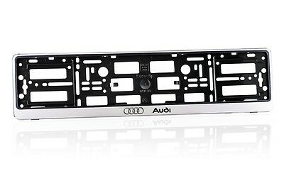 2 x Silver ABS  Number Plate Surrounds Holder Frame for AUDI AS 2