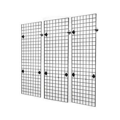 3 - 6' X 3' GRID WALL SHOP DISPLAY MESH PANELS with 12 brackets BLACK COATED