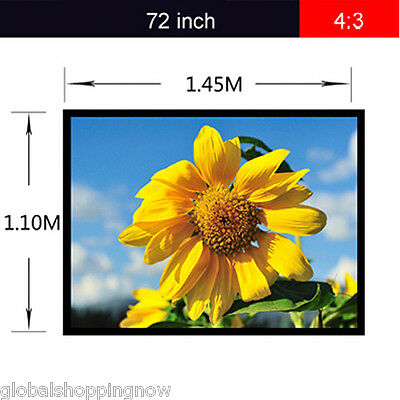 Excelvan Portable electric home TV 72 inch 4:3 Fabric Matte Projector Screen PVC