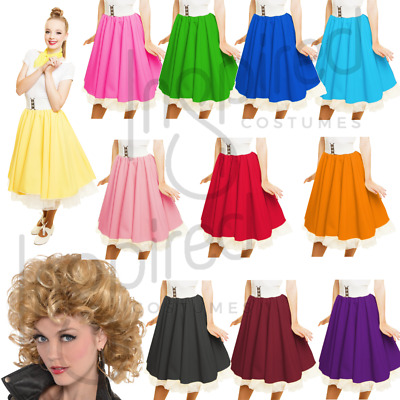 Girls Child Plain 1950s Costume Circle Skirt Rock and Roll GREASE SANDY SKIRT
