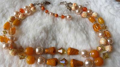 """Vintage Double Strand Figured Orange Swirl Glass Faux Pearl Bead 18"""" Necklace"""