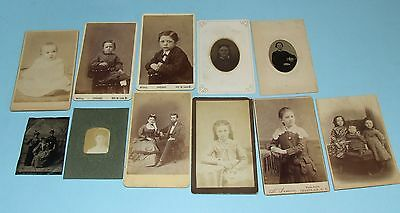 1800s Antique Lot 11 Old CDV Cabinet & Tintype Photographs Vintage America View