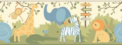JUNGLE ANIMALS PREPASTED WALLPAPER BORDER Blue Green Baby Nursery Wall Decor