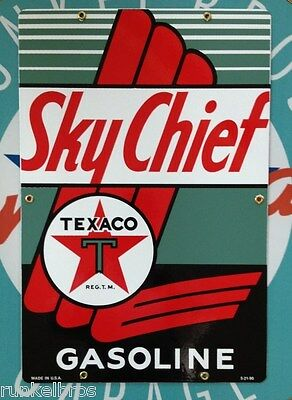 "TEXACO SKY CHIEF - GAS STATION PORCELAIN COATED SIGN - 18"" BY 12"", large sign"