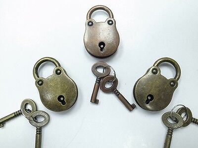 Vintage Antique Style Classic Padlocks With Keys -Assorted Color ( 3 pcs)