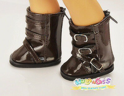 Doll Shoes for 18'' American Girl Brown Imitation Patent Leather Boots with belt