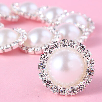 10pcs White Pearl Silver Tone Shank Round Button Sewing Craft Bling Crystal