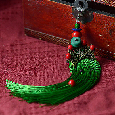 Green Tassel & Gold Plated Fan Shape Earring with Chinese Silk Gift Bag UK