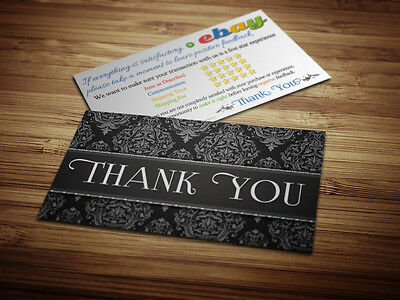 50 Thank You ebay Seller BUSINESS CARDS 5 Five Star Rating ELEGANT PROFESSIONAL