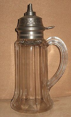 19th C. VICTORIAN PRESSED GLASS VICTORIA SYRUP PITCHER PATENTED JULY 16 1872