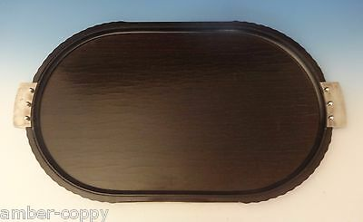 PATTERN UNKNOWN BY PUIFORCAT TEA TRAY WITH EBONY WOOD & SILVERPLATE HANDLES