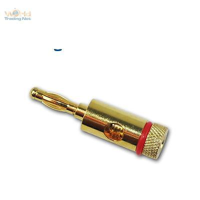 Laboratory Plug Ø 4mm, Gold Plated Red Banana Stacking Connector Lamellenstecker