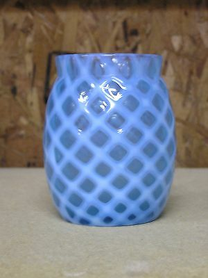 c.1880's Blue Opalescent Diamond Lattice/ Quilted Glass Insert for Pickle Castor