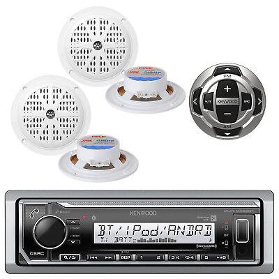 Kenwood Bluetooth Marine USB iPod Pandora Stereo Player 4 Speakers /Wired Remote