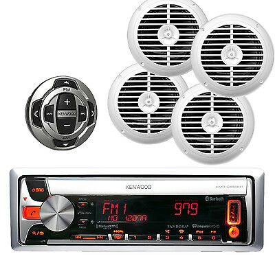 Kenwood Marine CD/MP3 iPhone Bluetooth Player Wired Remote and 4x White Speakers
