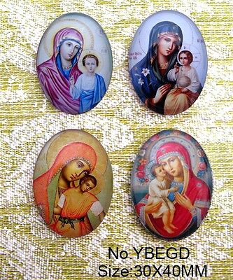 4pcs Huge Madonna and child Oval Glass 40x30mm Cabochon 6 Options
