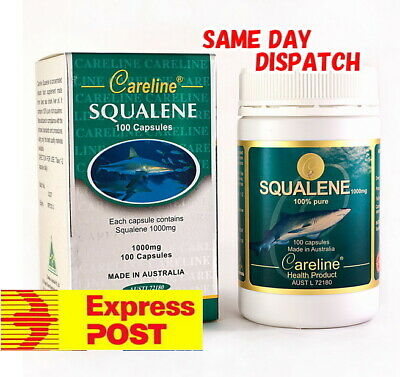Careline 99.9% Pure Squalene 1000mg 100 Capsules from deep sea shark liver oil
