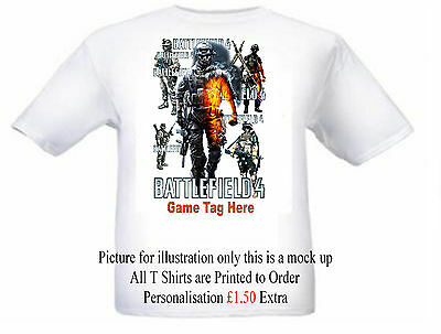 Battlefield 4  White T Shirt Personalised If Required