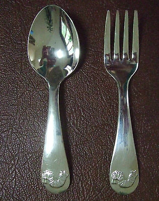 New LUNT SILVERPLATE  Very Hungry Caterpillar BABY SPOON FORK Set ERIC CARLE