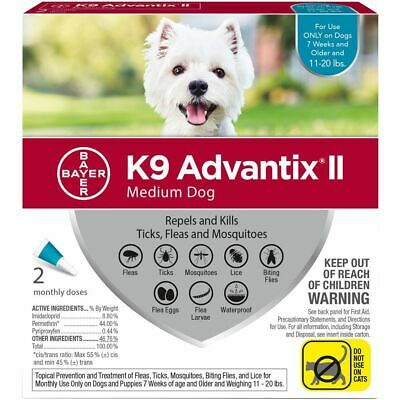 K9 Advantix II for Dogs 11-20 lbs Repels & Kills Fleas, Ticks & Mosquitos 2pack