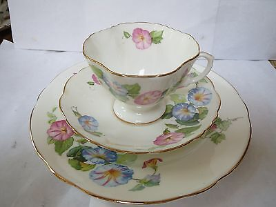 Hammersley - Bone China - Cup, Saucer And Plate - Pink And Blue Flowers
