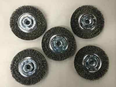 "*Set of 5* Crimped Wire Wheel Brush Paint Rust Remover 4"" x 5/8"" FREE SHIP"