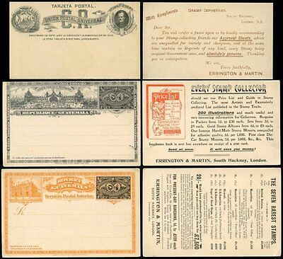 Guatemala + Costa Rica Stationery Stamp Dealer Advertising...3 Items