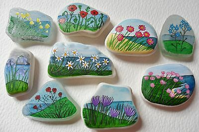 Hand painted sea glass beach pottery fridge art magnet gifts - Flowers seascape