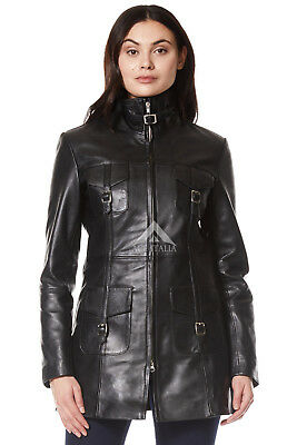 'MISTRESS' Ladies BLACK Gothic Style Fitted Real Lambskin Leather Jacket Coat