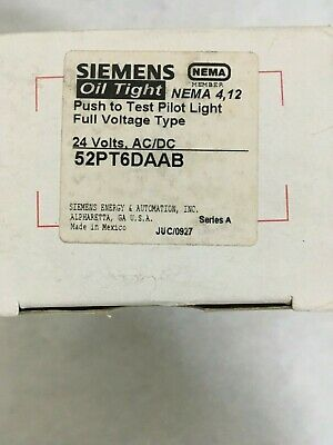 Siemens, 52Pt6Daab, Push To Test Pilot Light Full Voltage Type, 24 Volts, Ac/dc