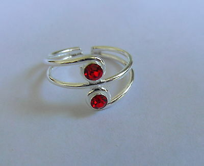Sterling Silver (925) Adjustable Red Double Jewel Toe Ring !!      New !!