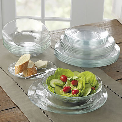 Duralex Lys Clear Glass Dinner Ware Plates - Set Of 6 - Dinner Soup Side Plate