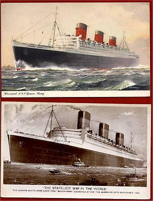 2 Queen Mary Postcards