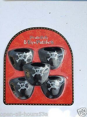 5 x Children's Pirate Eye Patch Play Set - Party Bag Filler Toy Costume Pack