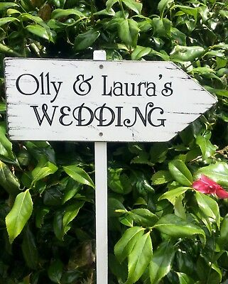 LARGE Personalised Wedding This Way Sign Venue Decoration Shabby Vintage Chic