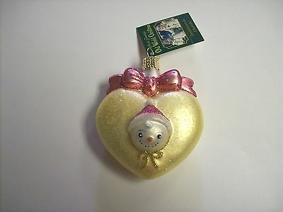 """""""Baby's First"""" (Pink) (30036) Heart Shaped Old World Christmas Glass Ornament"""