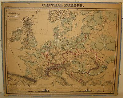 Antique Arnold Guyot Europe & Asia Wall Atlas - Rare 2 Sided Us School Wall Map
